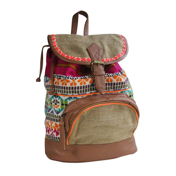 Embroidered Colorful BACKPACK with Faux Leather