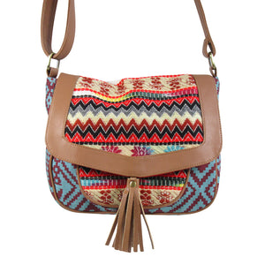 Printed Canvas CROSS BODY Bag with Jacquard