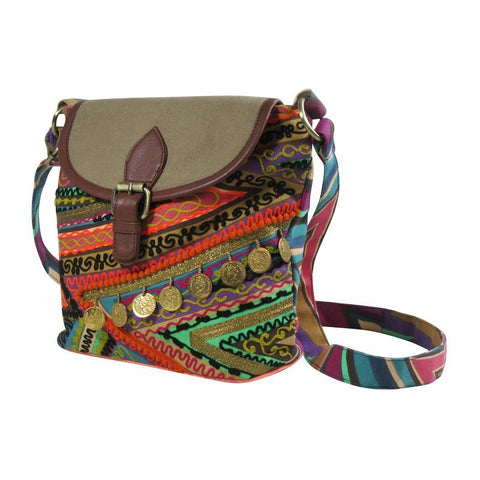 Printed Canvas CROSS BODY Bag Embellished
