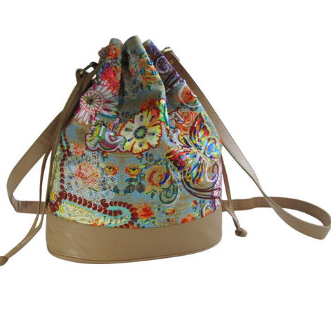 IT'S BACK! Floral Printed Canvas BUCKET Bag; Contrasting Printed Back