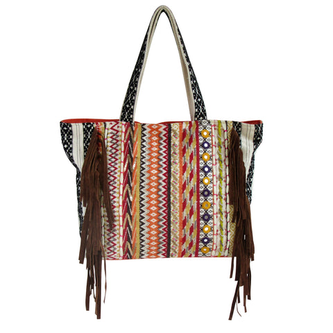 Handcrafted LARGE SHOULDER BAG with Suede Fringes