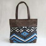 Large TOTE / SHOULDER Bag; Distressed Look Blue & Tan