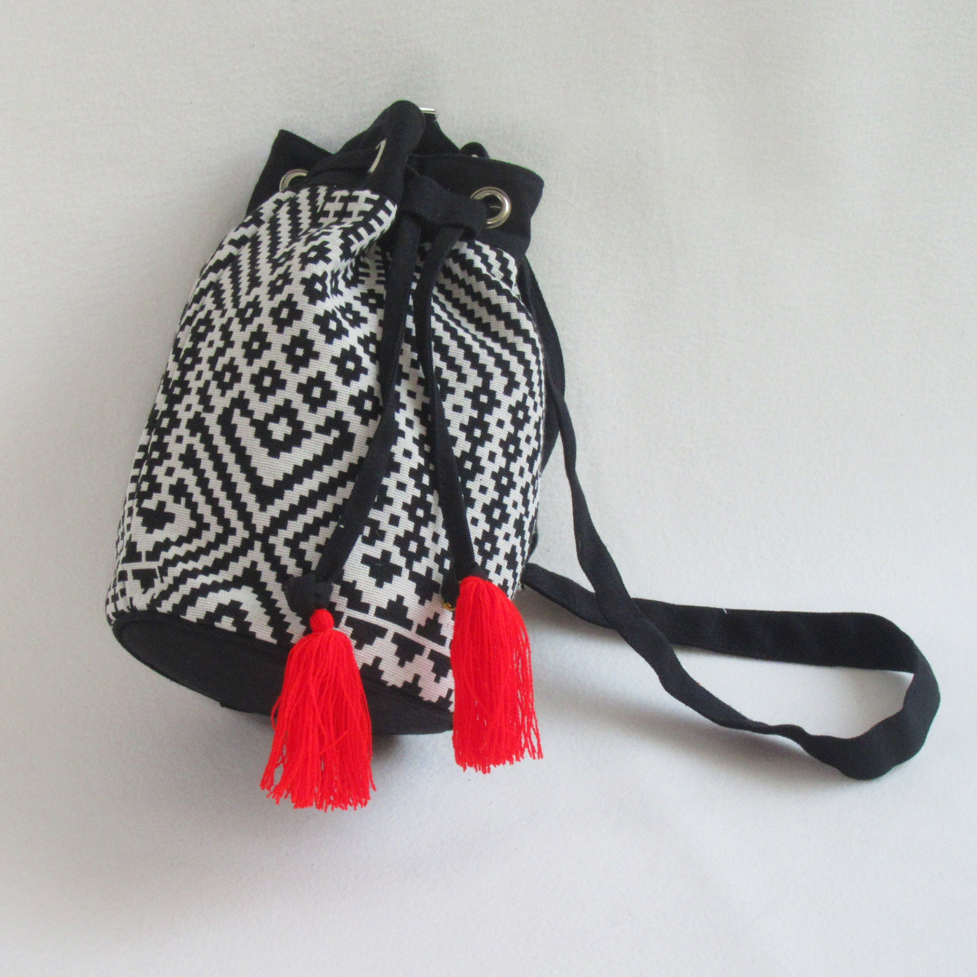 Jacquard Printed BUCKET / SLING; Drawstring with Tassel
