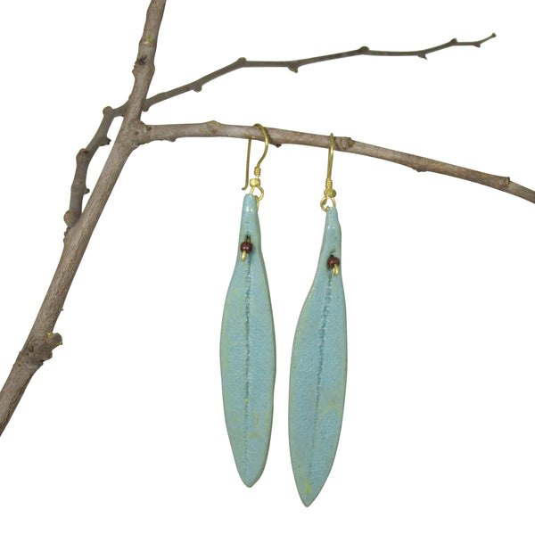 SEA GREEN: Handmade; Single Leaf Nerikomi Earrings
