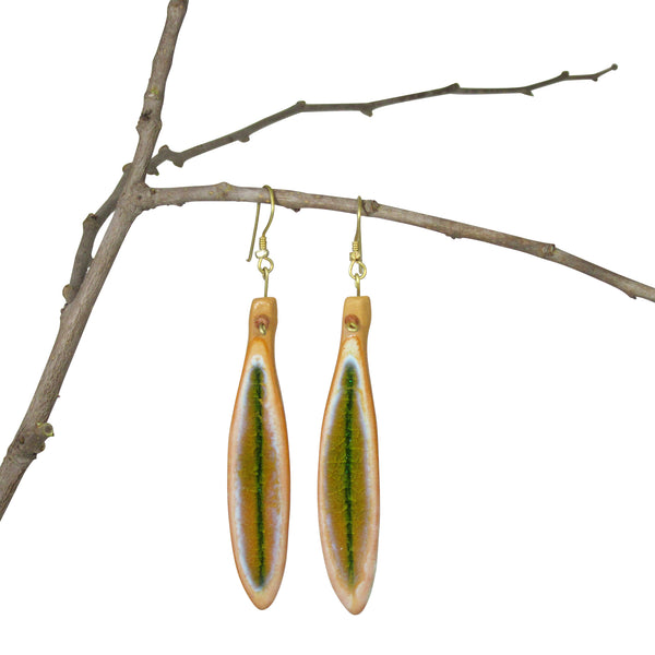 OCHER & GREEN Handmade; Single Leaf Nerikomi Earrings
