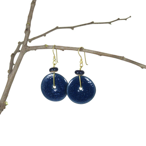 Handmade; Moon Inspired Nerikomi Earrings; INDIGO