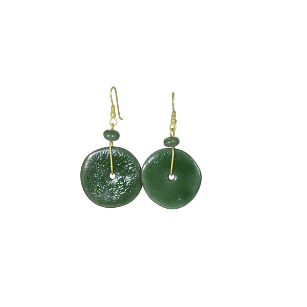 Handmade; Moon Inspired Nerikomi Earrings; GREEN