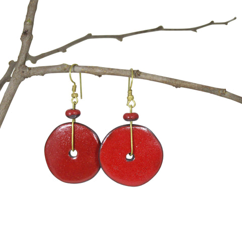 Handmade; Moon Inspired Nerikomi Earrings; RED