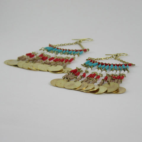 Long Coin and Bead Earrings: Bohemian Collection