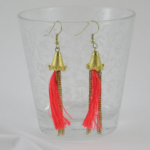 Neon Tassel Earrings with Chains: Bohemian Collection