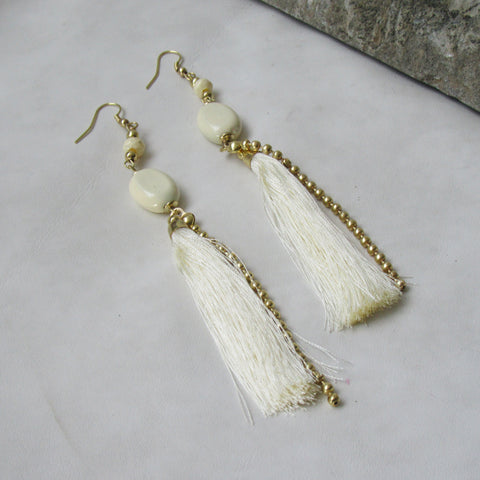 Ivory Tassel Earrings with Chain: Bohemian Collection