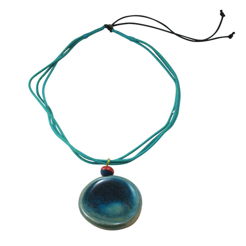 Long Pendant Nerikomi Necklace; Teal