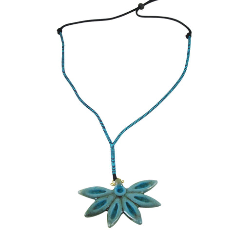 Handmade; Half Lotus Pendant; Nerikomi Necklace; TEAL