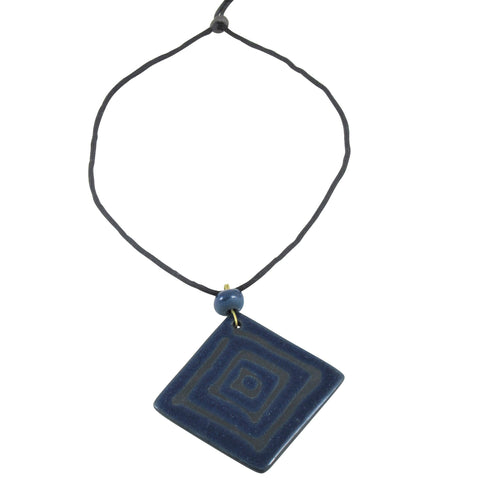 Square Geometric Long Pendant Nerikomi Necklace; Indigo