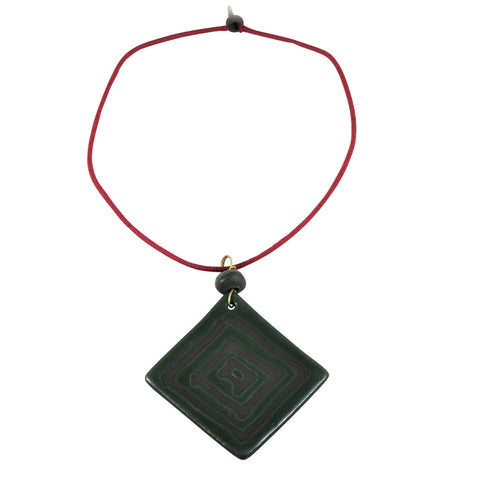 Square Geometric Long Pendant Nerikomi Necklace; Green