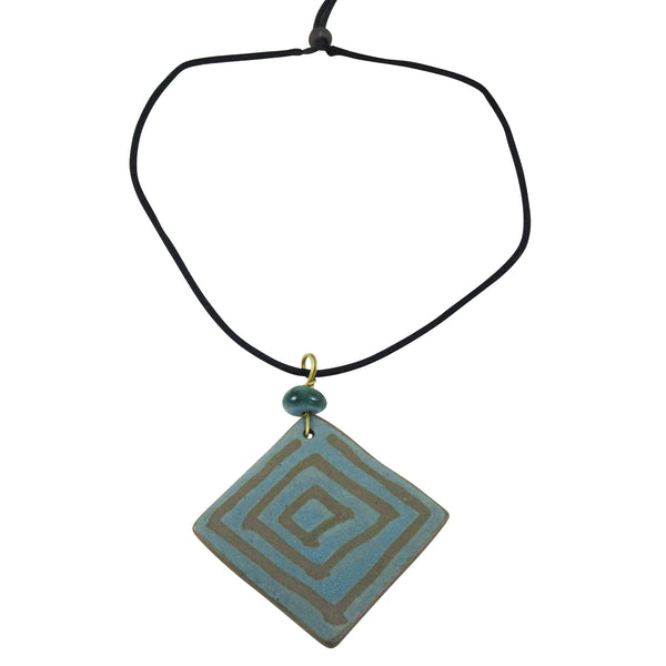 Square Geometric Long Pendant Nerikomi Necklace; Teal