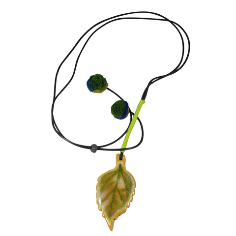 Handmade; Serrated Large Leaf; Nerikomi Necklace; LIME
