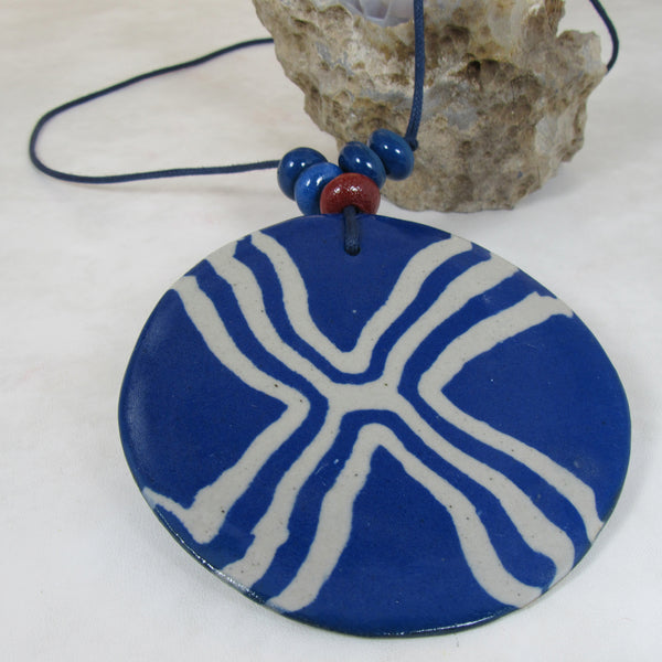 LARGE Nerikomi Pendant - NAVY; Necklace