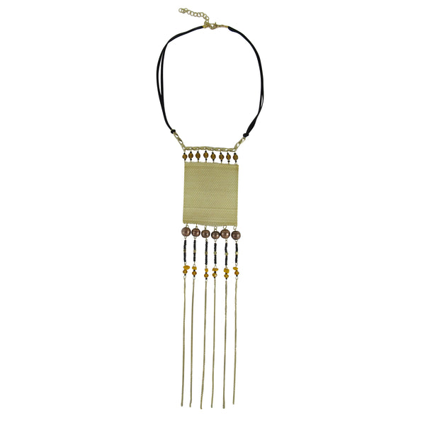 Chain Fringes Necklace, Metal Net Square