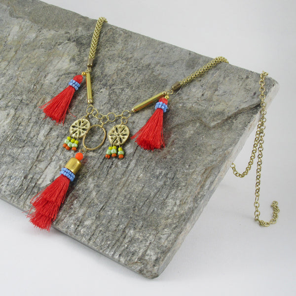 Tassel Pendants, Thread work Inspired Vintage look -Boho Necklace