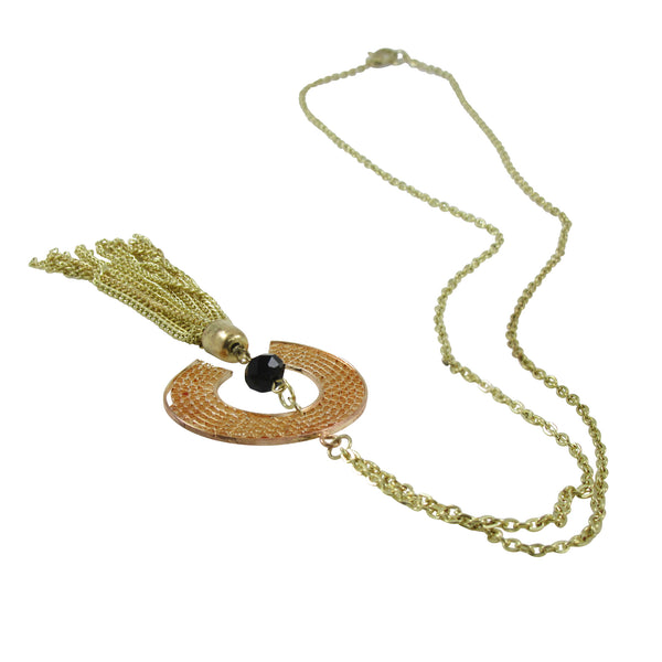 Chain Fringes Necklace, Two Tone Gold Metal