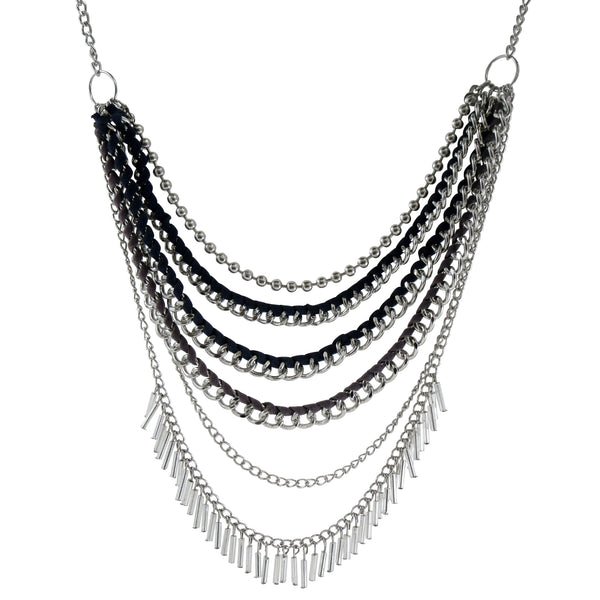 Mutli-layered Chain & Cord Necklace: Bohemian Metal Collection