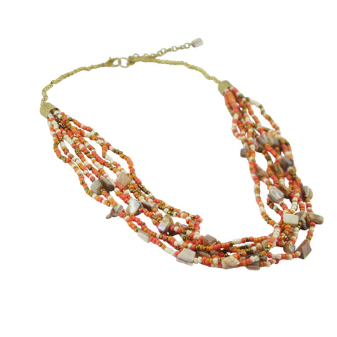 PEACH: Handcrafted Shells & Beads Layered Necklace: Bohemian Collection