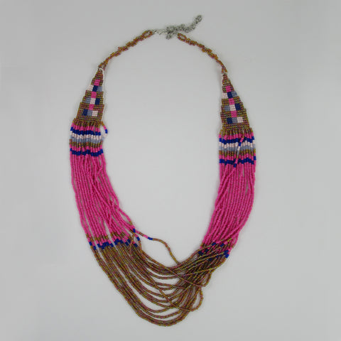 Netted Handcrafted Beads Layered Necklace: Bohemian Collection