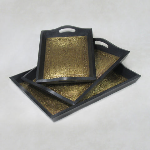Set of 3 Brass Inlay Trays : Handcrafted