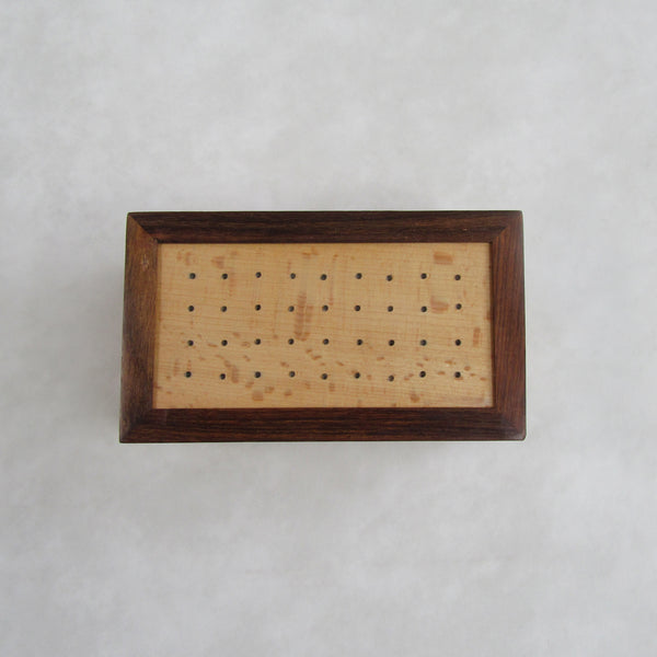 Wooden Tea Bag Container / Box; Lid dotted with Brass