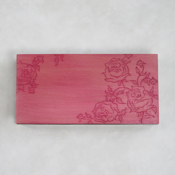 Handcrafted; Decorative Wooden Box; Carved Lid - Rose