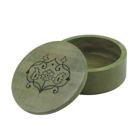 Round Handcrafted; Decorative Wooden Box - Olive