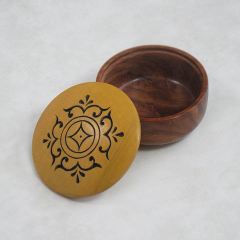 Round Handcrafted; Decorative Wooden Box - Ocher