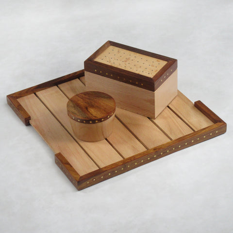 Wooden Tea Tray / Platter; Dotted with Brass