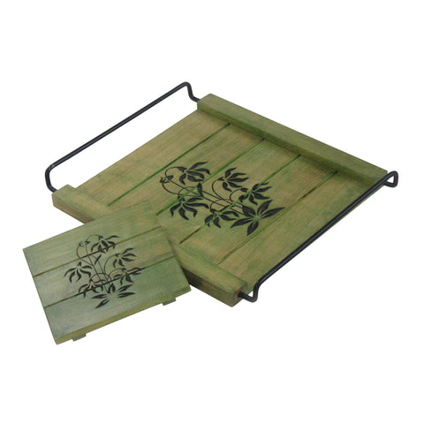 Coffee Table Decorative Tray, Olive Green Tones, Handcrafted