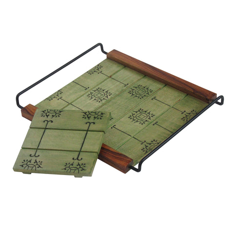 Coffee Table Decorative Tray, Two Tone Olive Green : Handcrafted