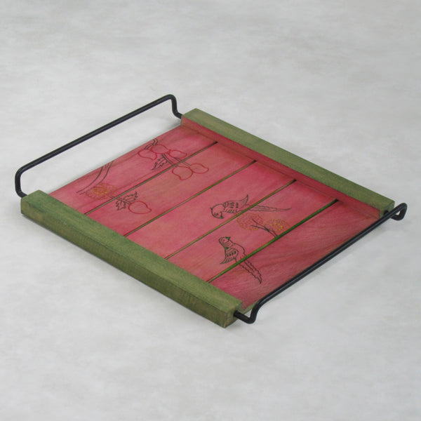 Parrots Inspired Coffee Table Decorative Tray, Rose: Handcrafted