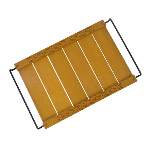 Handcrafted Wooden Tray with Etched side panels : Ocher