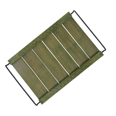Handcrafted Wooden Tray with Etched side panels : Olive Green