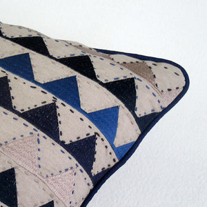 Blue & Tan Chevron Embroidered Square Accent Pillow