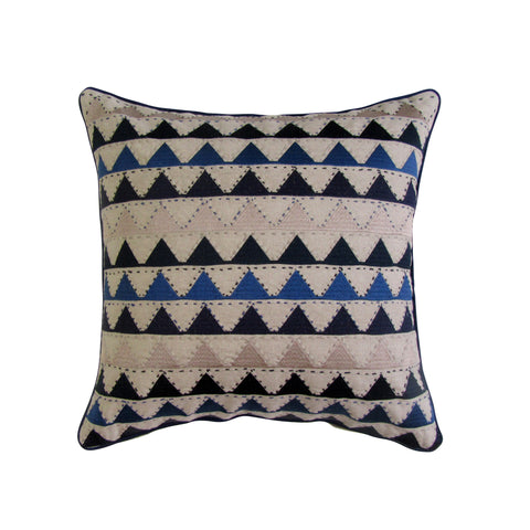 Blue and Tan Chevron Embroidered Square Pillow