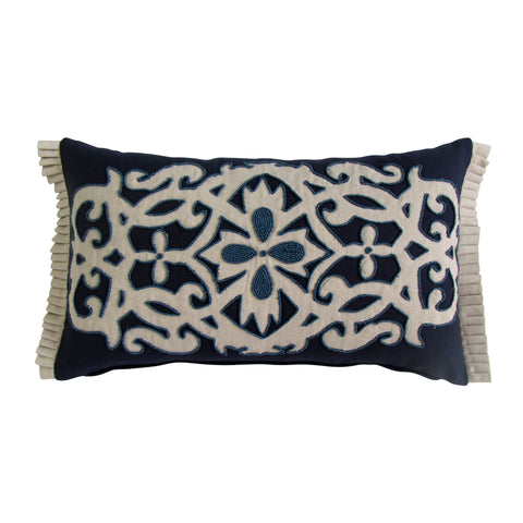 Navy Tone Patterned Embroidered Boudoir Pillow