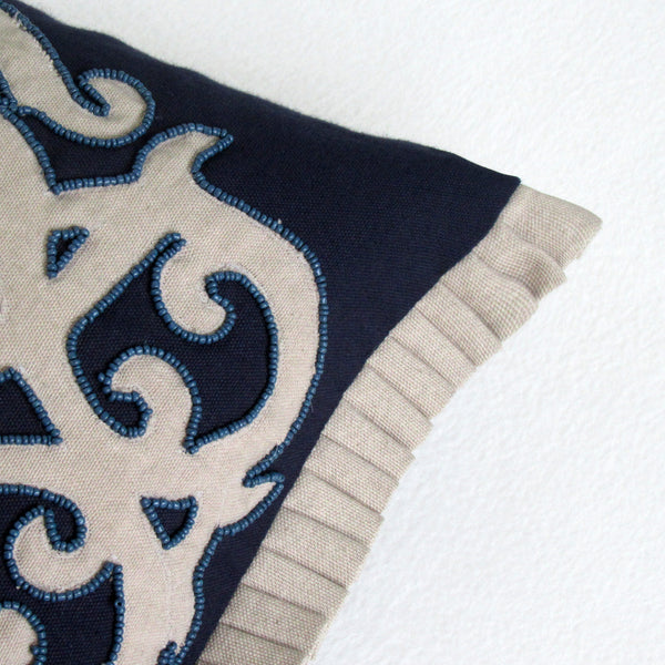 Navy Tone Patterned Embroidered - Beaded Boudoir Pillow Cover