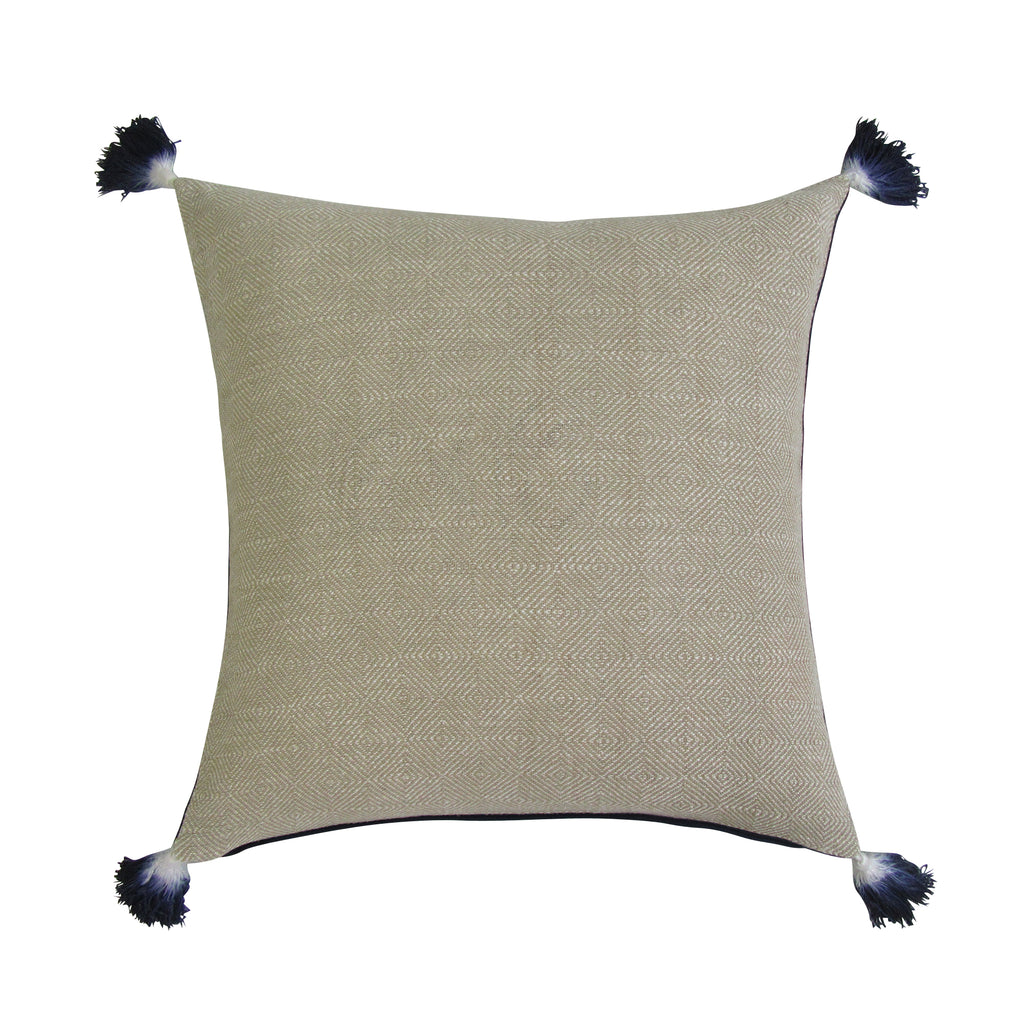 REVERSIBLE Square Pillow with Insert - TAN & NAVY On Back Order