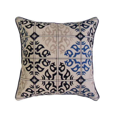 Navy & Tan Tones Marrakesh Tile Inspired Embroidered Pillow