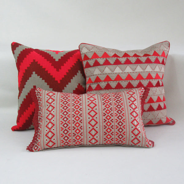 Red Patterned Embroidered Boudoir Pillow Cover