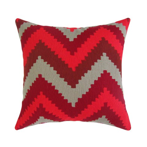 Red & Tan Chevron Embroidered Square Pillow with Insert
