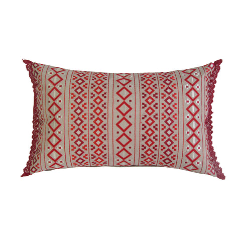 Red Patterned Embroidered Boudoir Pillow