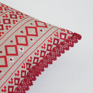 Red Patterned Embroidered Boudoir Pillow:  Cover Only