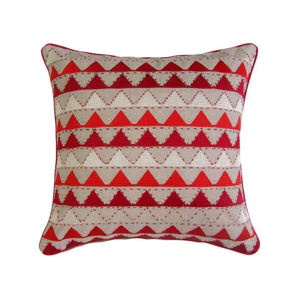 Red & Tan Chevron Embroidered Square Accent Pillow Cover